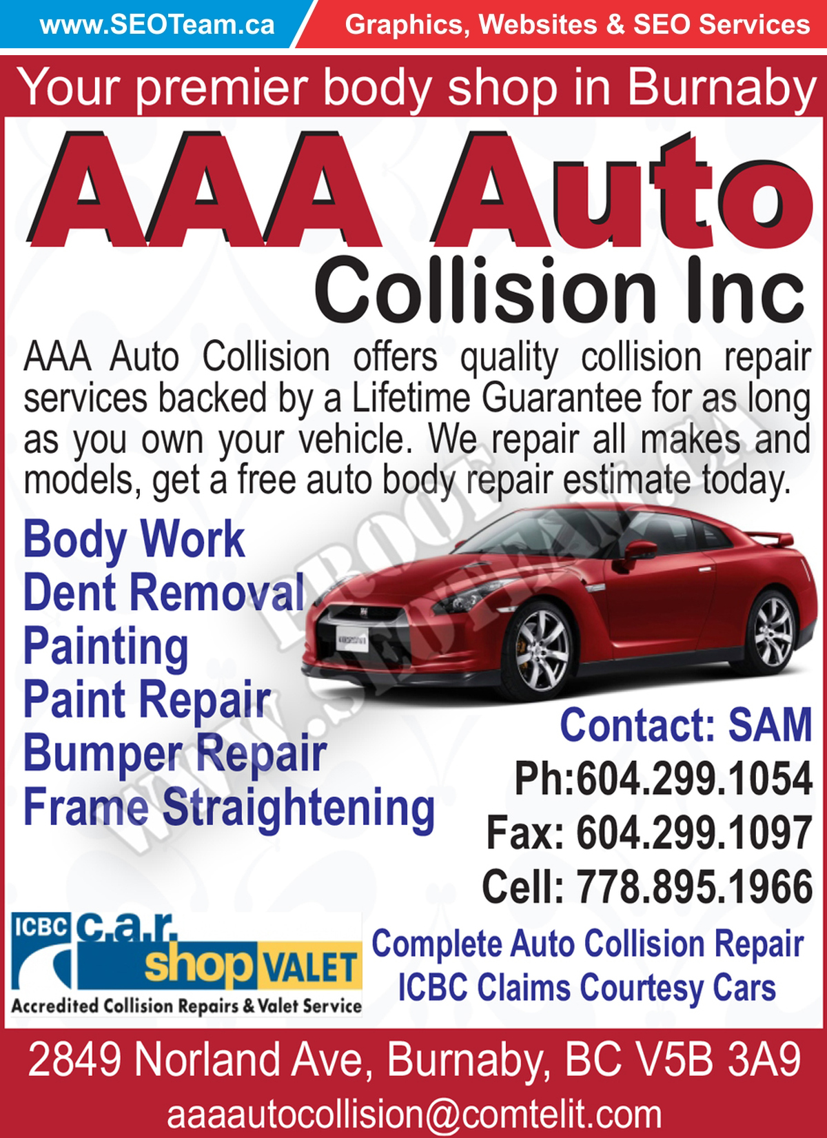 Aaa Auto Collision Inc Burnaby Bc Design By
