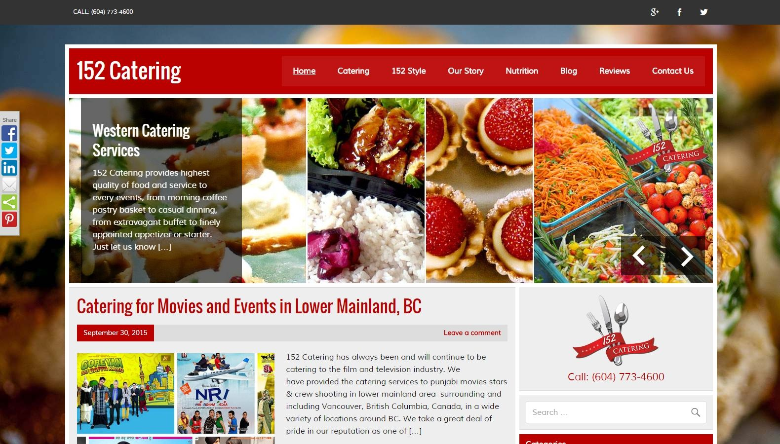 152 Catering - Website Designing By SEOTeam.ca