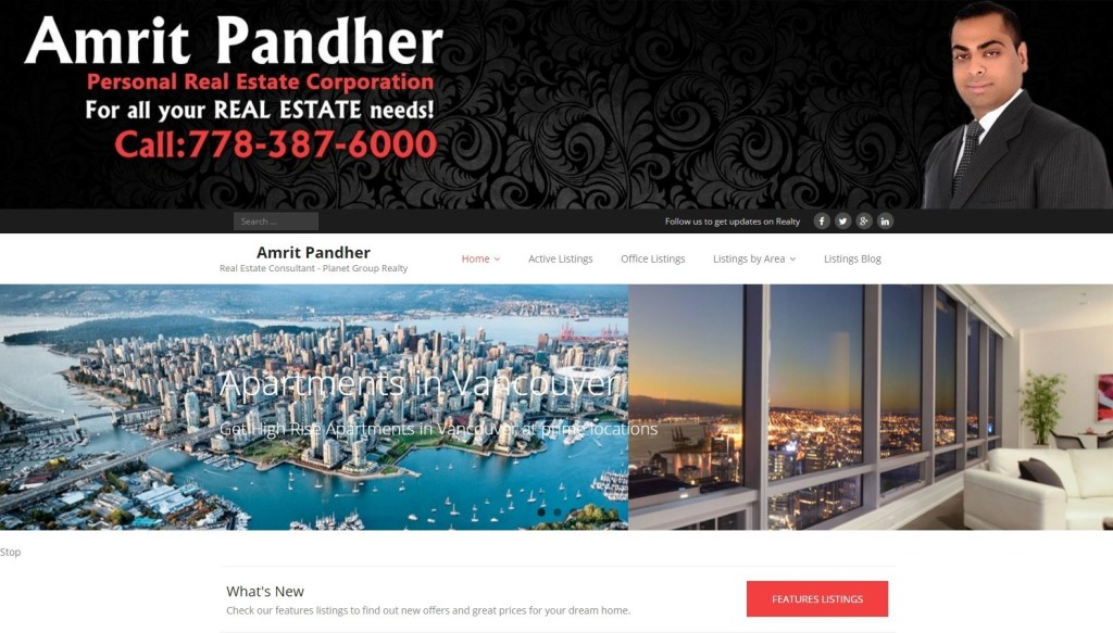 Realtor Amrit Pandher – Website Designing by SEOTeam.ca