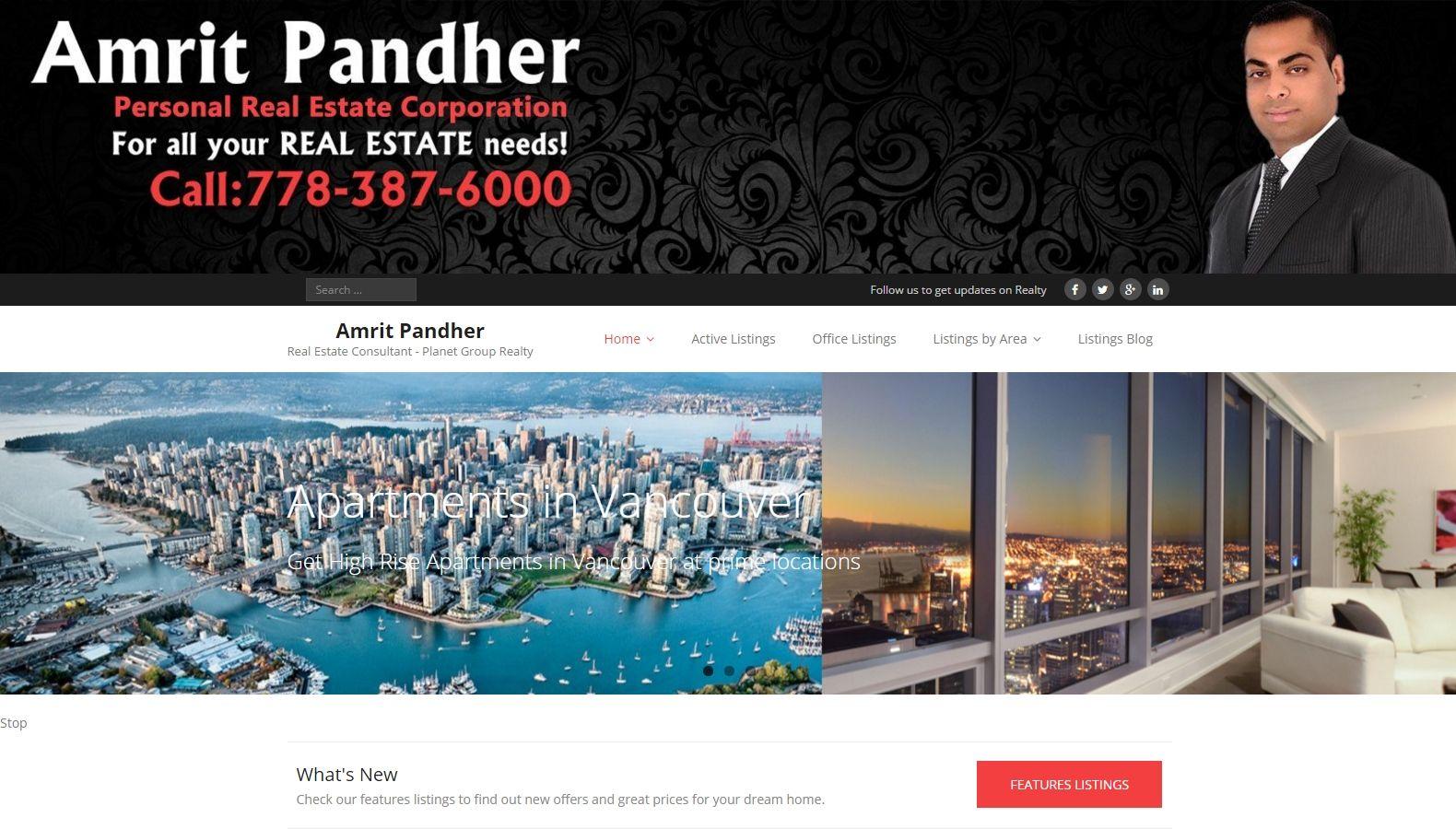 Realtor Amrit Pandher - Website Designing By SEOTeam.ca