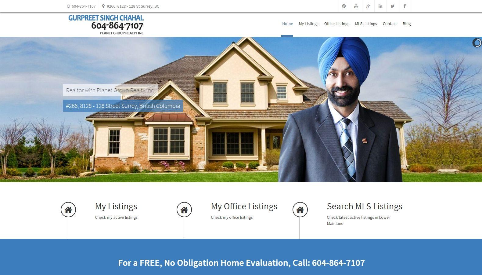 Realtor Gurpreet Singh Chahal – Website Designing By SEOTeam.ca