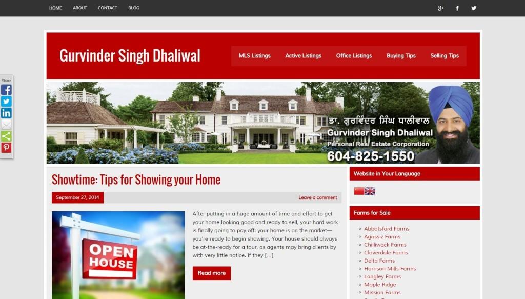 Realtor Gurvinder Singh Dhaliwal – Website Designing by SEOTeam.ca