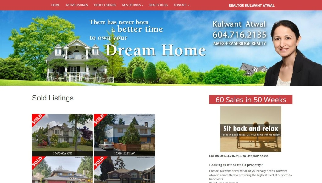 Realtor Kulwant Atwal – Website Designing by SEOTeam.ca