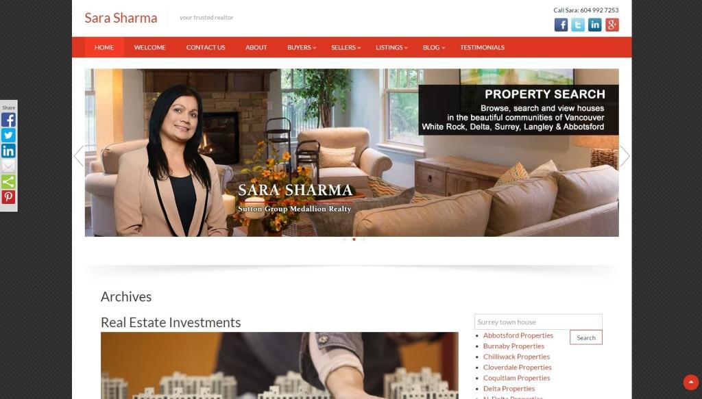 Realtor Sara Sharma – Website Designing by SEOTeam.ca