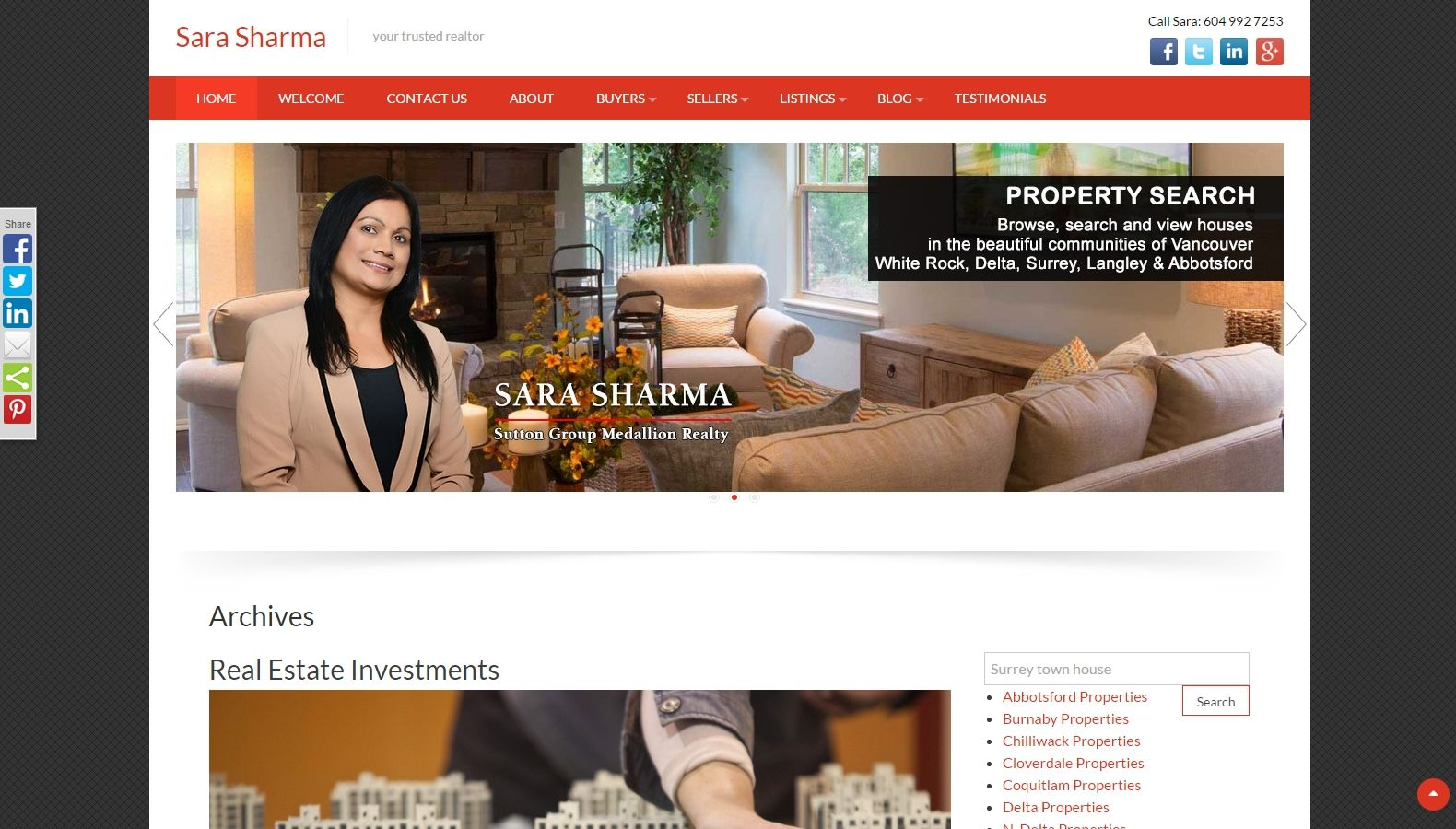 Realtor Sara Sharma - Website Designing By SEOTeam.ca