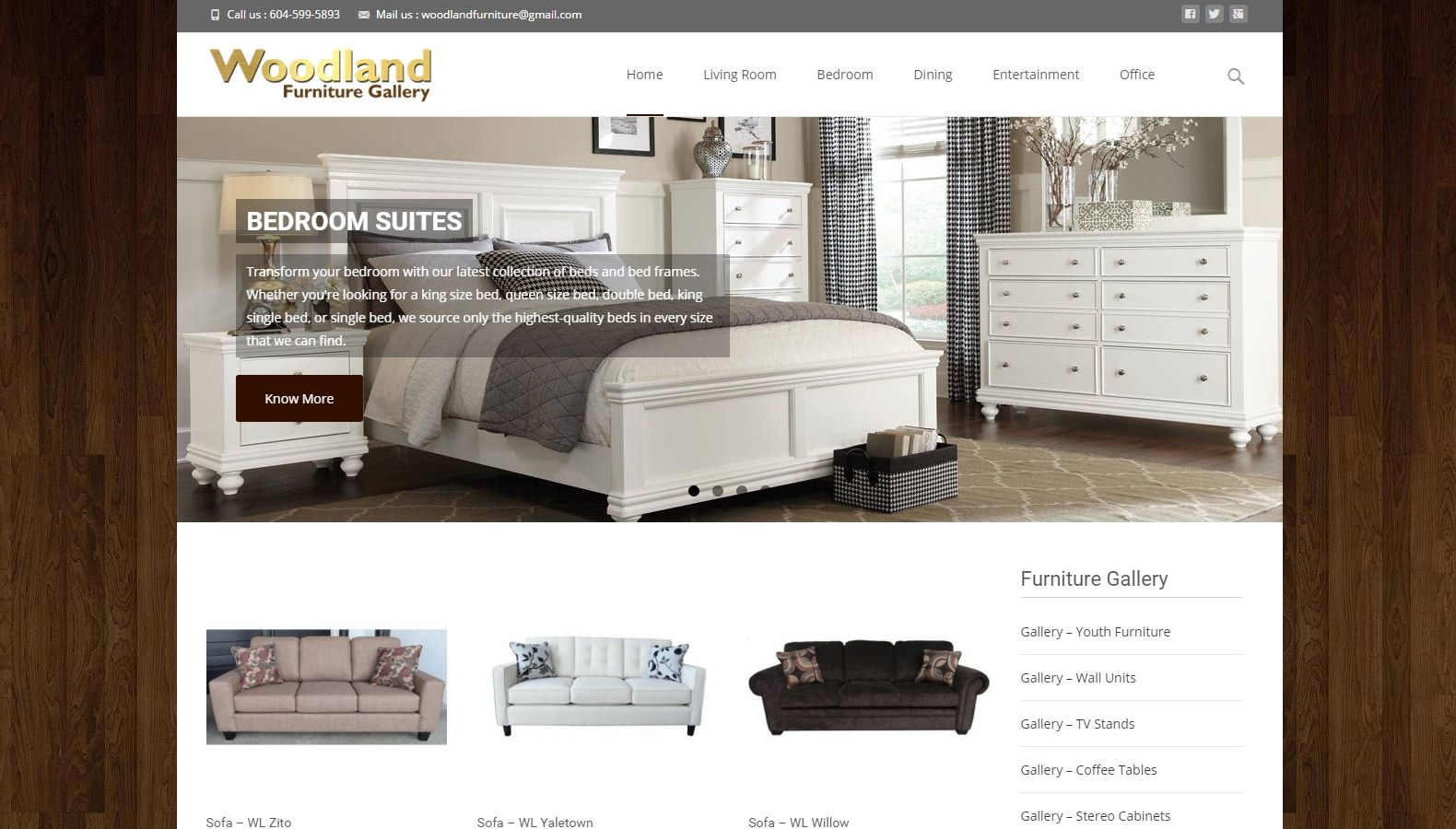Woodland Furniture Gallery - Website Designing By SEOTeam.ca
