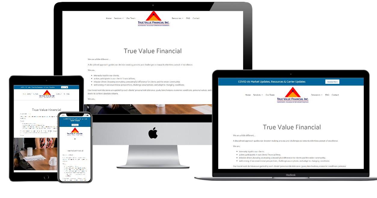 Investment Planning Website Design – truevaluefinancial.ca